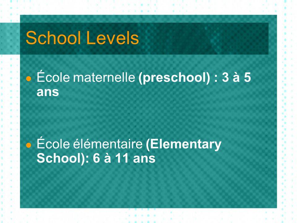School Levels École maternelle (preschool) : 3 à 5 ans École élémentaire (Elementary School): 6 à 11 ans