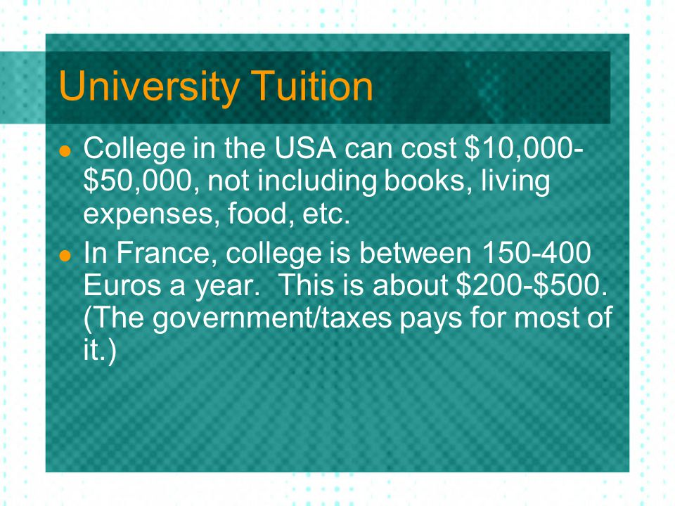 University Tuition College in the USA can cost $10,000- $50,000, not including books, living expenses, food, etc.
