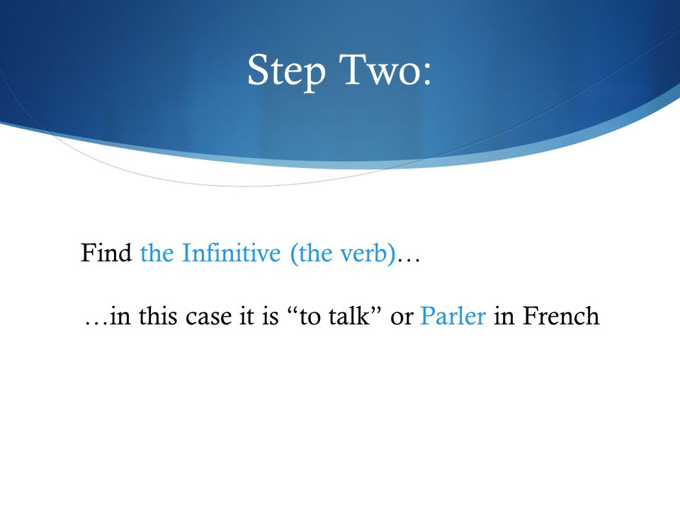 Step Two: Find the Infinitive (the verb)… …in this case it is to talk or Parler in French