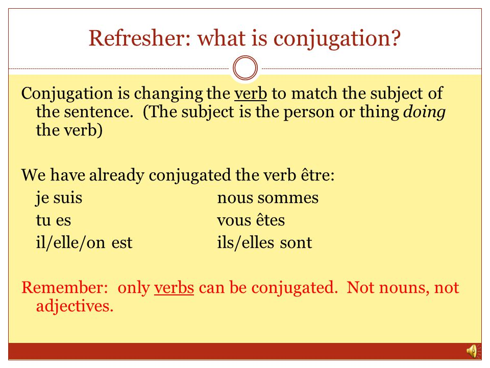 Refresher: what is conjugation.