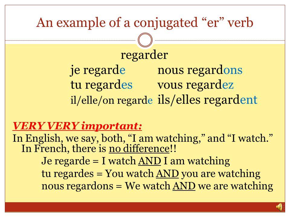 How to conjugate an er verb Step 1: remove the er Step 2: add the following endings je – enous – ons tu – esvous – ez il/elle/on – eils/elles – ent **