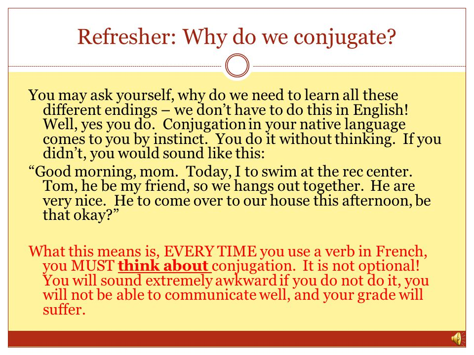 Refresher: Why do we conjugate.