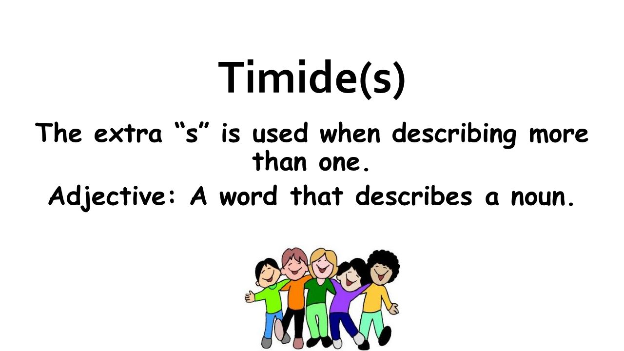 Timide(s) The extra s is used when describing more than one.