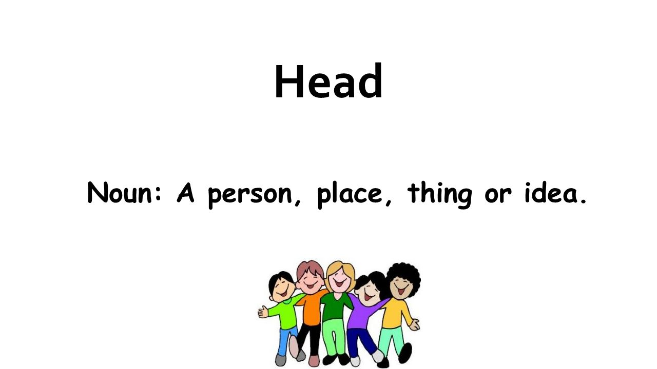 Head Noun: A person, place, thing or idea.