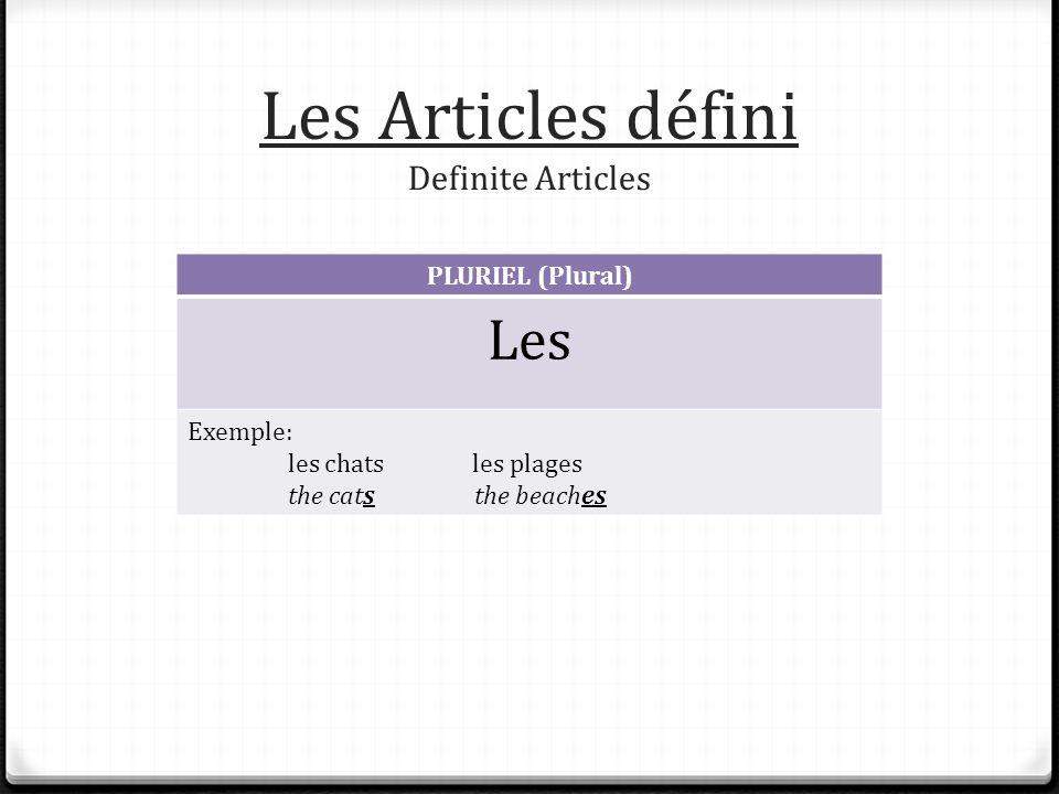 Les Articles défini Definite Articles PLURIEL (Plural) Les Exemple: les chats les plages the cats the beaches