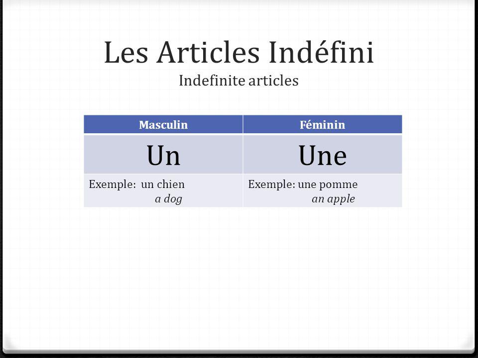 Les Articles Indéfini Indefinite articles MasculinFéminin UnUne Exemple: un chien a dog Exemple: une pomme an apple