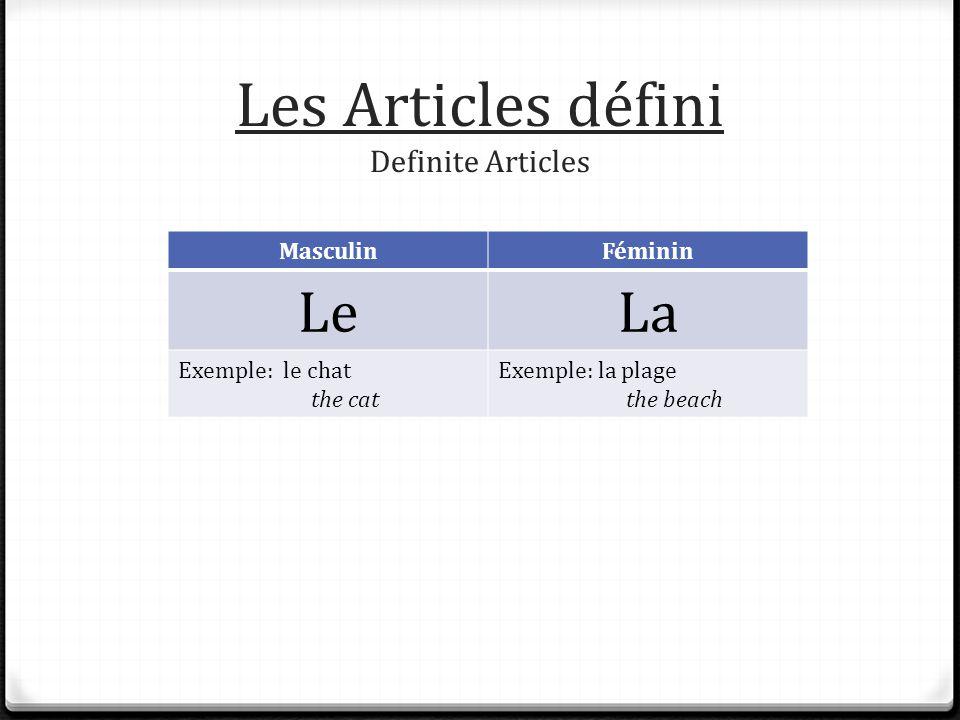Les Articles défini Definite Articles MasculinFéminin LeLa Exemple: le chat the cat Exemple: la plage the beach