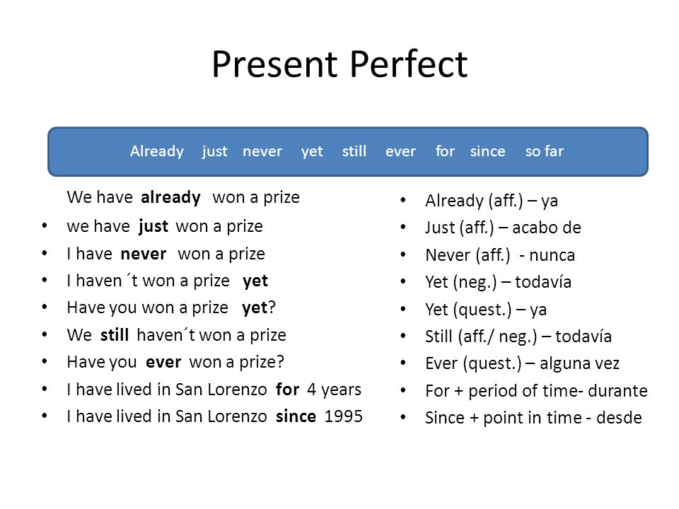 Present Perfect We have already won a prize we have just won a prize I have never won a prize I haven ´t won a prize yet Have you won a prize yet.