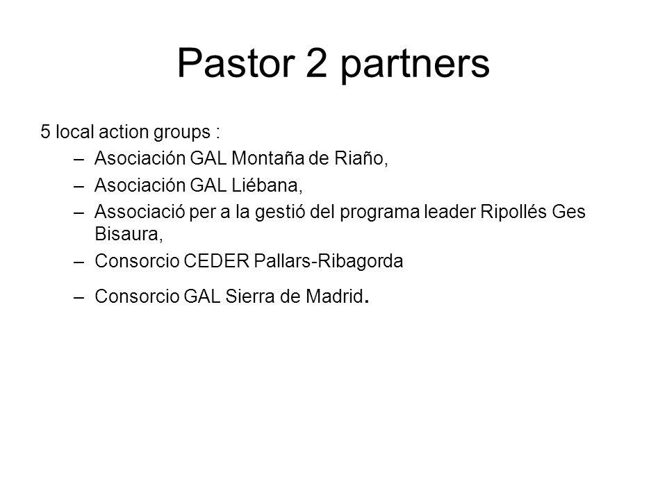 Pastor 2 partners 5 local action groups : –Asociación GAL Montaña de Riaño, –Asociación GAL Liébana, –Associació per a la gestió del programa leader Ripollés Ges Bisaura, –Consorcio CEDER Pallars-Ribagorda –Consorcio GAL Sierra de Madrid.