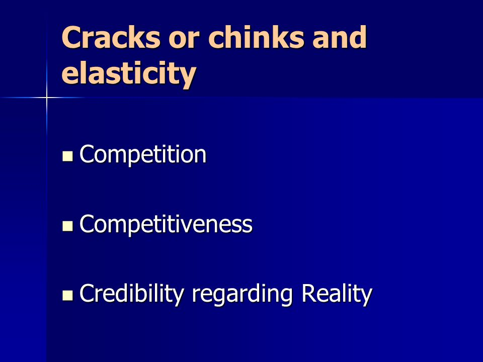 Cracks or chinks and elasticity Competition Competition Competitiveness Competitiveness Credibility regarding Reality Credibility regarding Reality
