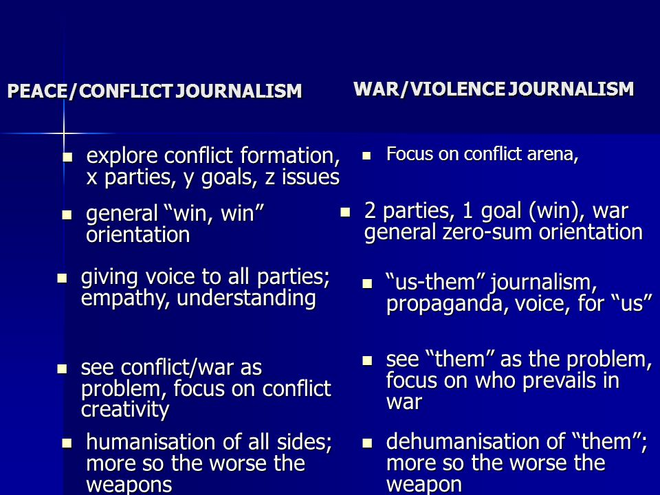PEACE/CONFLICT JOURNALISM explore conflict formation, x parties, y goals, z issues explore conflict formation, x parties, y goals, z issues Focus on conflict arena, Focus on conflict arena, WAR/VIOLENCE JOURNALISM humanisation of all sides; more so the worse the weapons humanisation of all sides; more so the worse the weapons see conflict/war as problem, focus on conflict creativity see conflict/war as problem, focus on conflict creativity general win, win orientation general win, win orientation giving voice to all parties; empathy, understanding giving voice to all parties; empathy, understanding dehumanisation of them; more so the worse the weapon dehumanisation of them; more so the worse the weapon see them as the problem, focus on who prevails in war see them as the problem, focus on who prevails in war us-them journalism, propaganda, voice, for us us-them journalism, propaganda, voice, for us 2 parties, 1 goal (win), war general zero-sum orientation 2 parties, 1 goal (win), war general zero-sum orientation