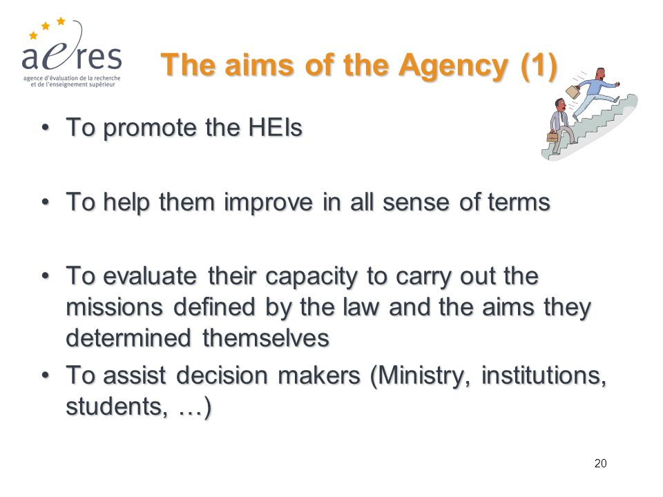 20 The aims of the Agency (1) To promote the HEIsTo promote the HEIs To help them improve in all sense of termsTo help them improve in all sense of te