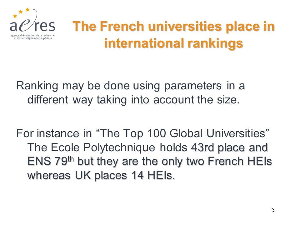 3 The French universities place in international rankings Ranking may be done using parameters in a different way taking into account the size. 43rd p