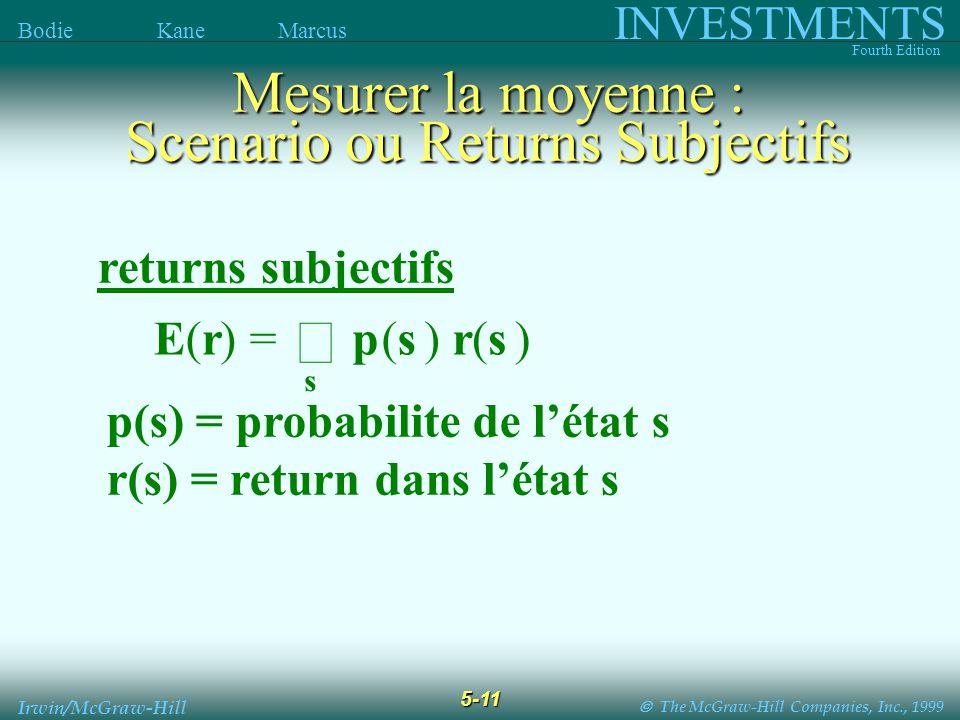 The McGraw-Hill Companies, Inc., 1999 INVESTMENTS Fourth Edition Bodie Kane Marcus 5-11 Irwin/McGraw-Hill returns subjectifs p(s) = probabilite de létat s r(s) = return dans létat s E(r) = p(s) r(s) s Mesurer la moyenne : Scenario ou Returns Subjectifs