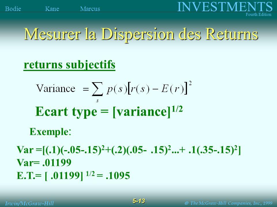 The McGraw-Hill Companies, Inc., 1999 INVESTMENTS Fourth Edition Bodie Kane Marcus 5-13 Irwin/McGraw-Hill Ecart type = [variance] 1/2 returns subjectifs Var =[(.1)(-.05-.15) 2 +(.2)(.05-.15) 2...+.1(.35-.15) 2 ] Var=.01199 E.T.= [.01199] 1/2 =.1095 Exemple : Mesurer la Dispersion des Returns