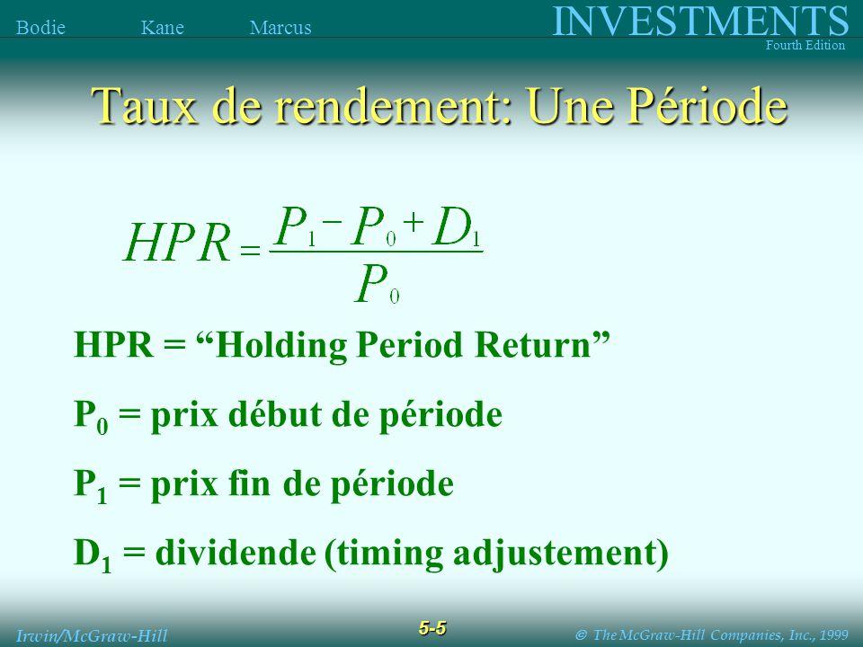The McGraw-Hill Companies, Inc., 1999 INVESTMENTS Fourth Edition Bodie Kane Marcus 5-5 Irwin/McGraw-Hill HPR = Holding Period Return P 0 = prix début de période P 1 = prix fin de période D 1 = dividende (timing adjustement) Taux de rendement: Une Période