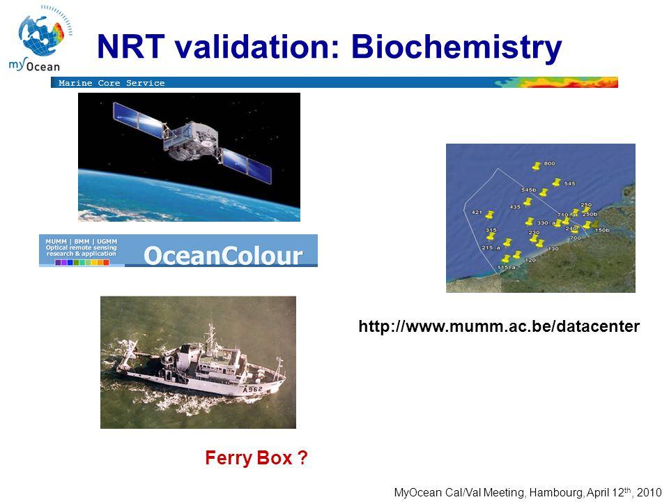 Marine Core Service MyOcean Cal/Val Meeting, Hambourg, April 12 th, 2010 Monitoring NRT validation: Biochemistry Monitoring Ocean Color http://www.mumm.ac.be/datacenter Ferry Box ?