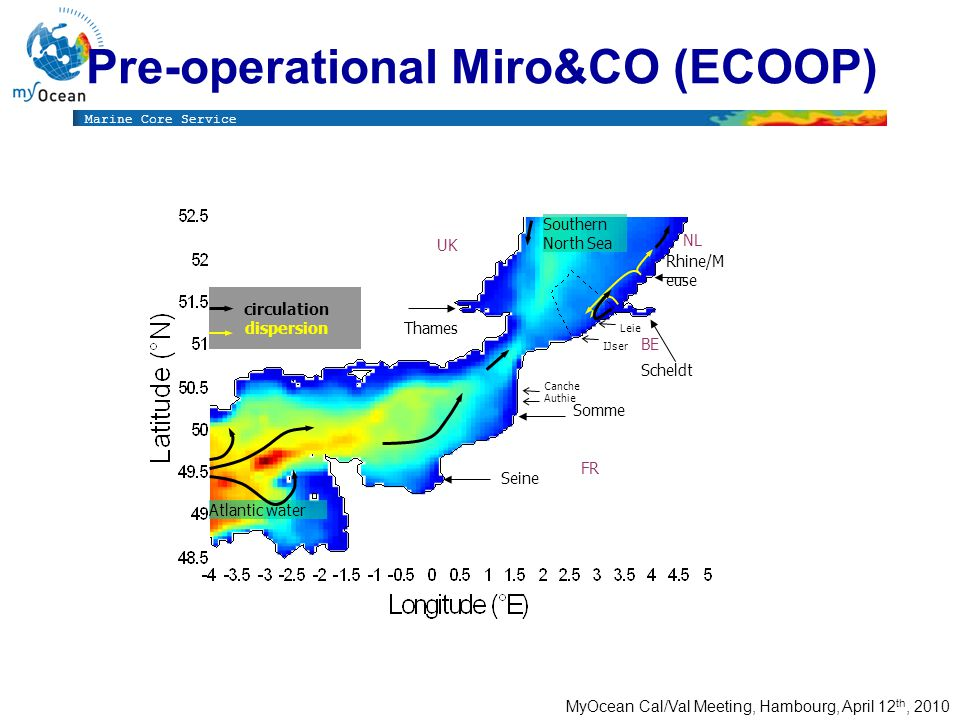 Marine Core Service MyOcean Cal/Val Meeting, Hambourg, April 12 th, 2010 Pre-operational Miro&CO (ECOOP) UK FR NL BE Canche Leie IJser Authie Seine Somme Scheldt Rhine/M euse Thames Atlantic water Southern North Sea circulation dispersion