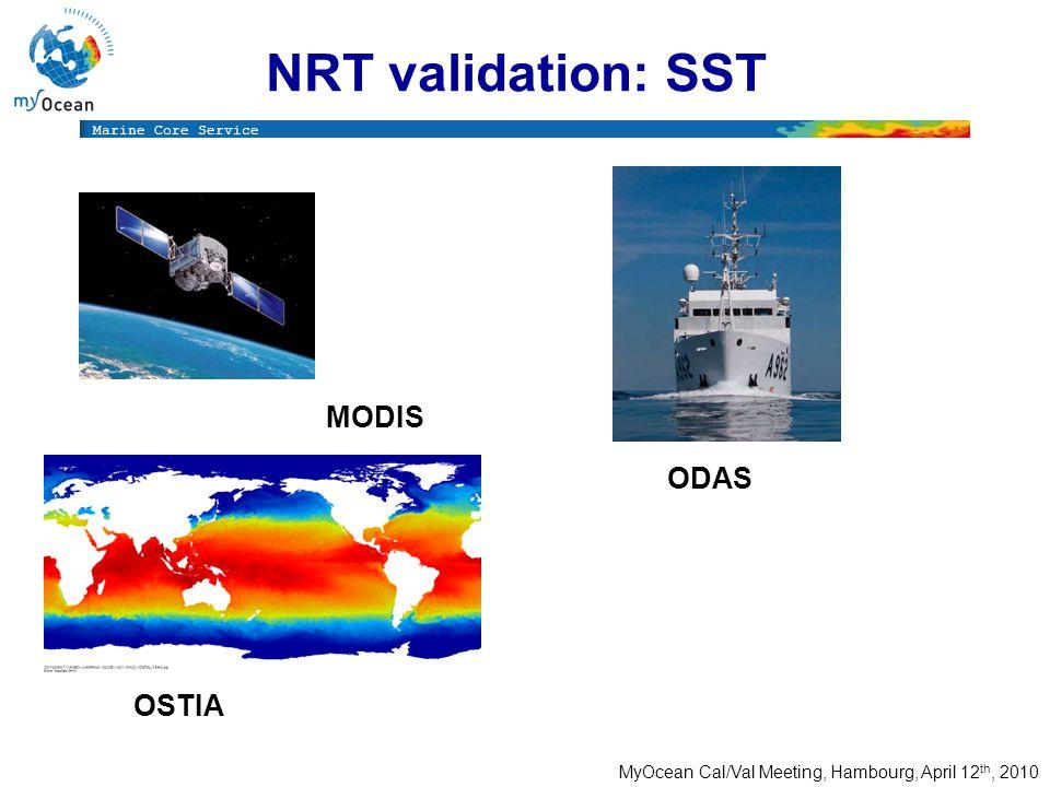 Marine Core Service MyOcean Cal/Val Meeting, Hambourg, April 12 th, 2010 NRT validation: SST OSTIA MODIS ODAS