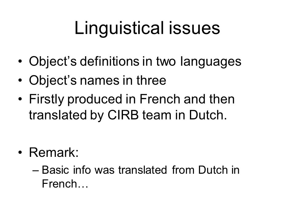 Linguistical issues Objects definitions in two languages Objects names in three Firstly produced in French and then translated by CIRB team in Dutch.