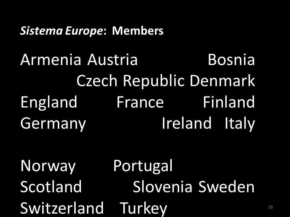Sistema Europe: Members Armenia Austria Bulgaria Bosnia Croatia Czech Republic Denmark England France Finland Germany Greece Ireland Italy Malta T he