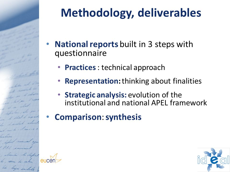 Methodology, deliverables National reports built in 3 steps with questionnaire Practices : technical approach Representation: thinking about finalitie