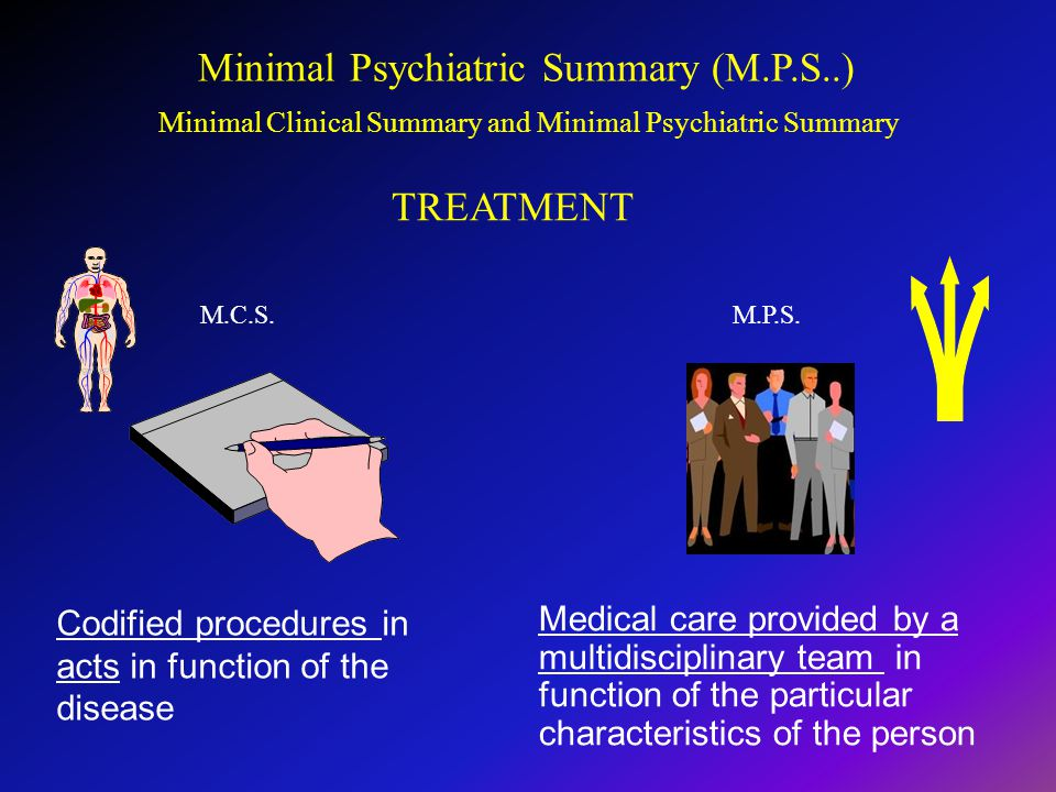 Medical care provided by a multidisciplinary team in function of the particular characteristics of the person M.C.S.M.P.S.