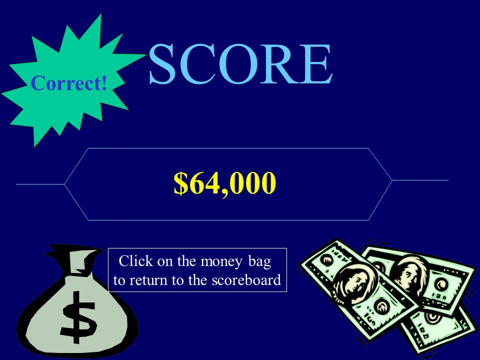 SCORE $64,000 Click on the money bag to return to the scoreboard Correct!