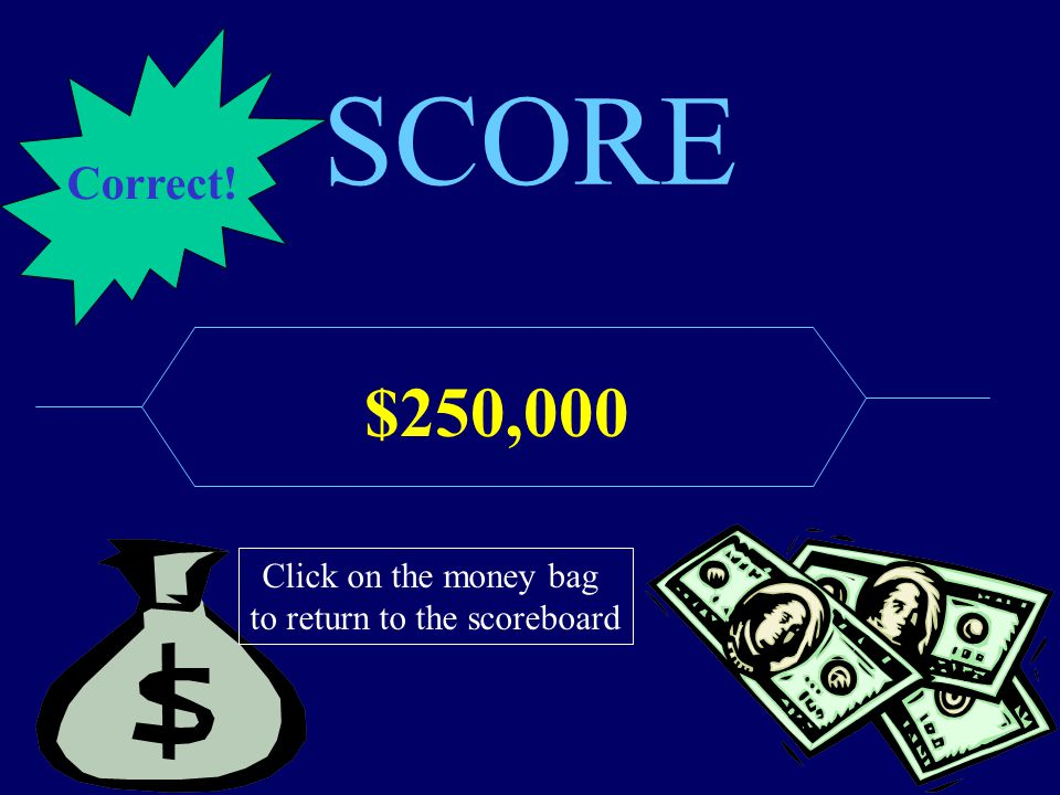 SCORE $250,000 Click on the money bag to return to the scoreboard Correct!