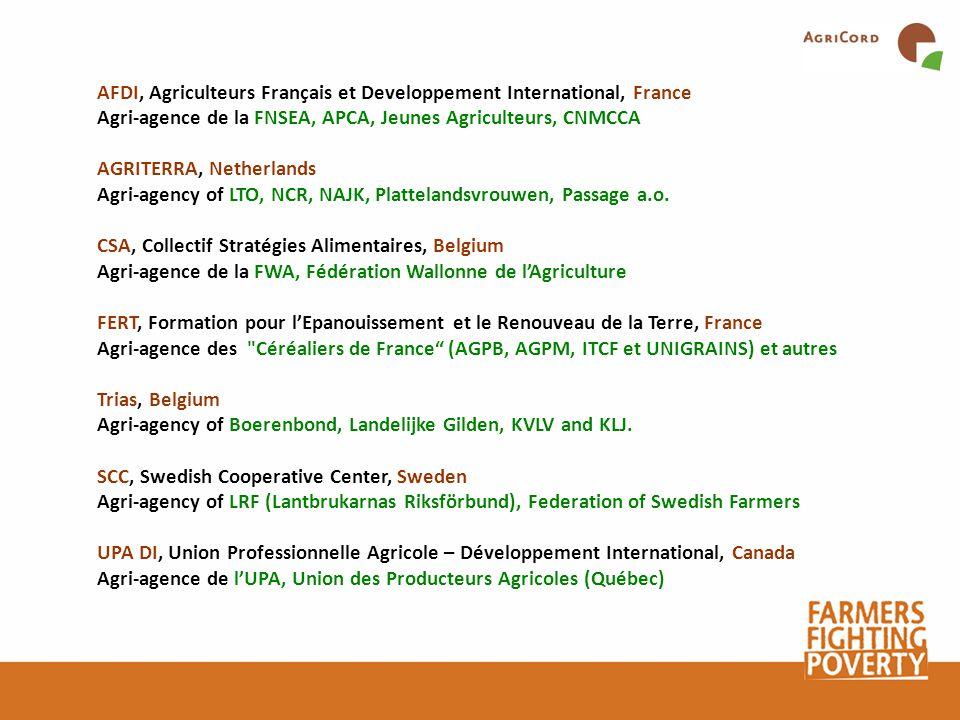 AFDI, Agriculteurs Français et Developpement International, France Agri-agence de la FNSEA, APCA, Jeunes Agriculteurs, CNMCCA AGRITERRA, Netherlands Agri-agency of LTO, NCR, NAJK, Plattelandsvrouwen, Passage a.o.