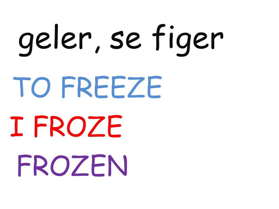 geler, se figer TO FREEZE I FROZE FROZEN