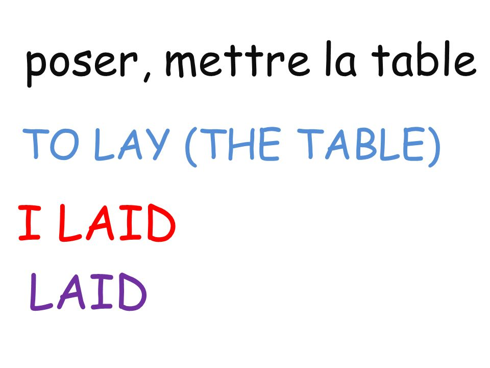 poser, mettre la table TO LAY (THE TABLE) I LAID LAID