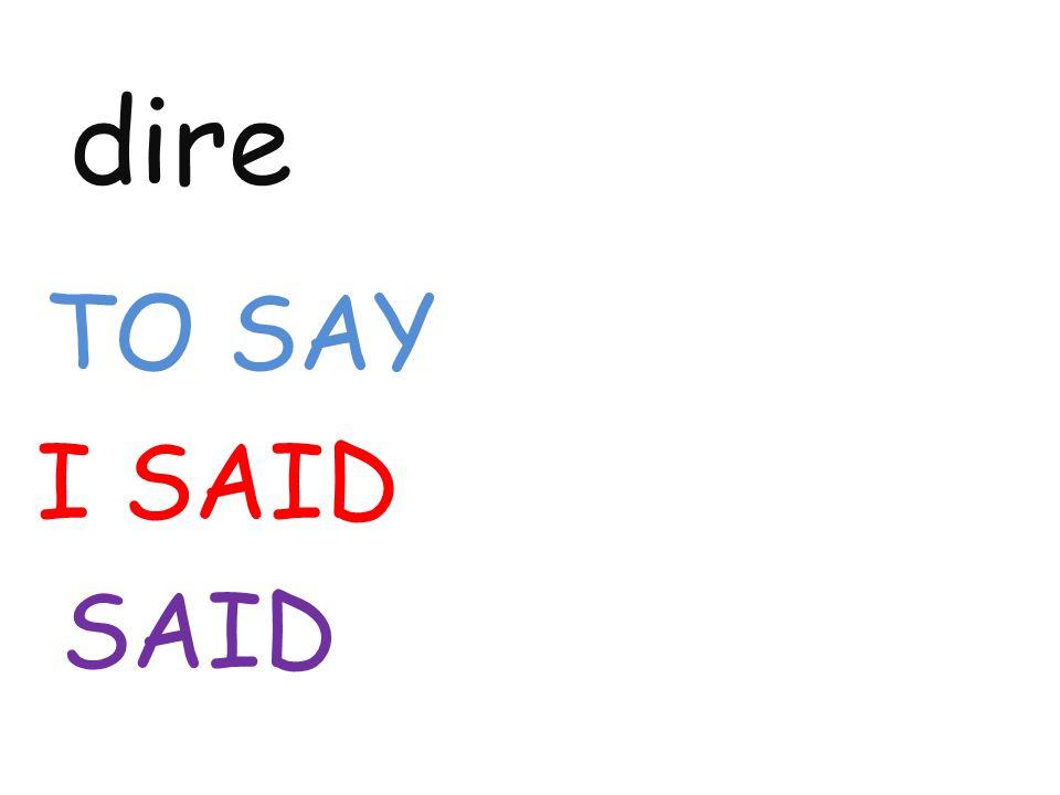 dire TO SAY I SAID SAID
