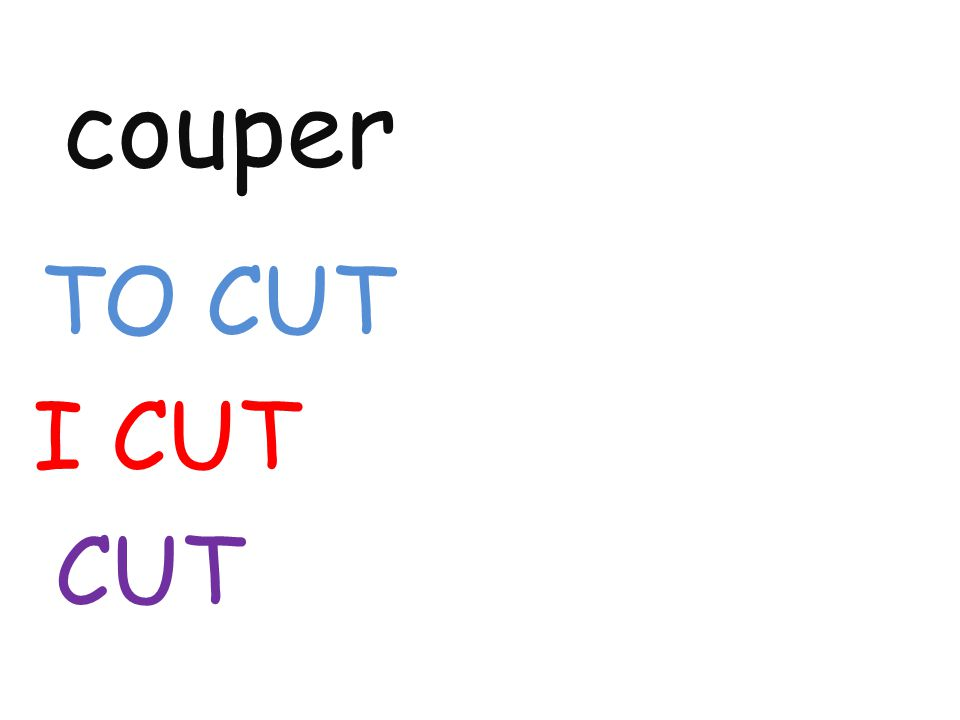 couper TO CUT I CUT CUT