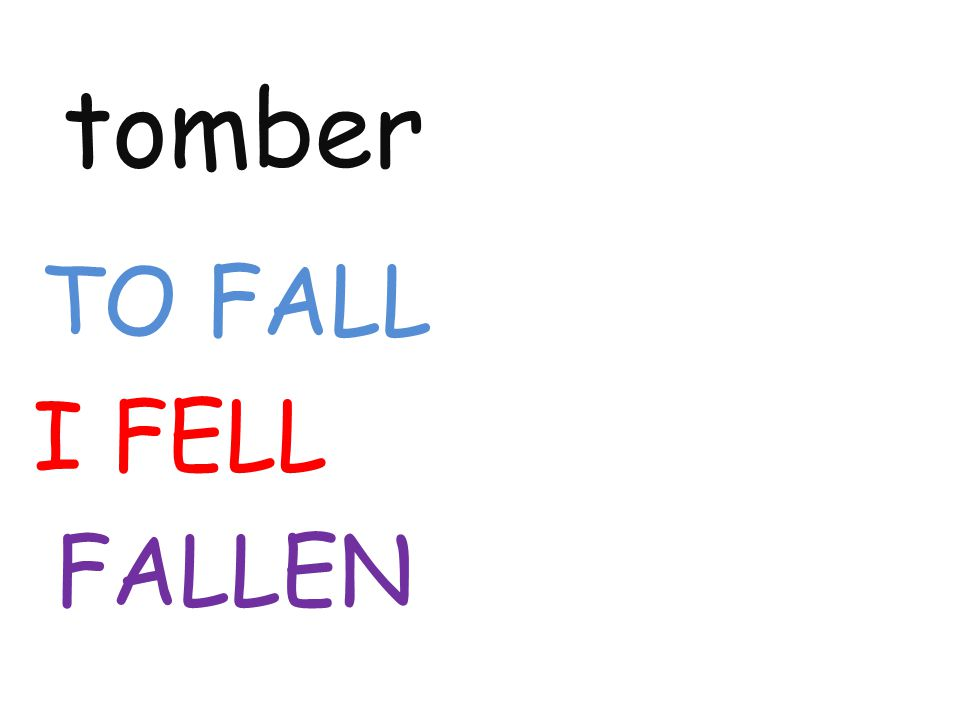 tomber TO FALL I FELL FALLEN