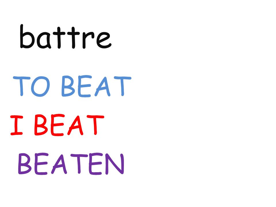 battre TO BEAT I BEAT BEATEN