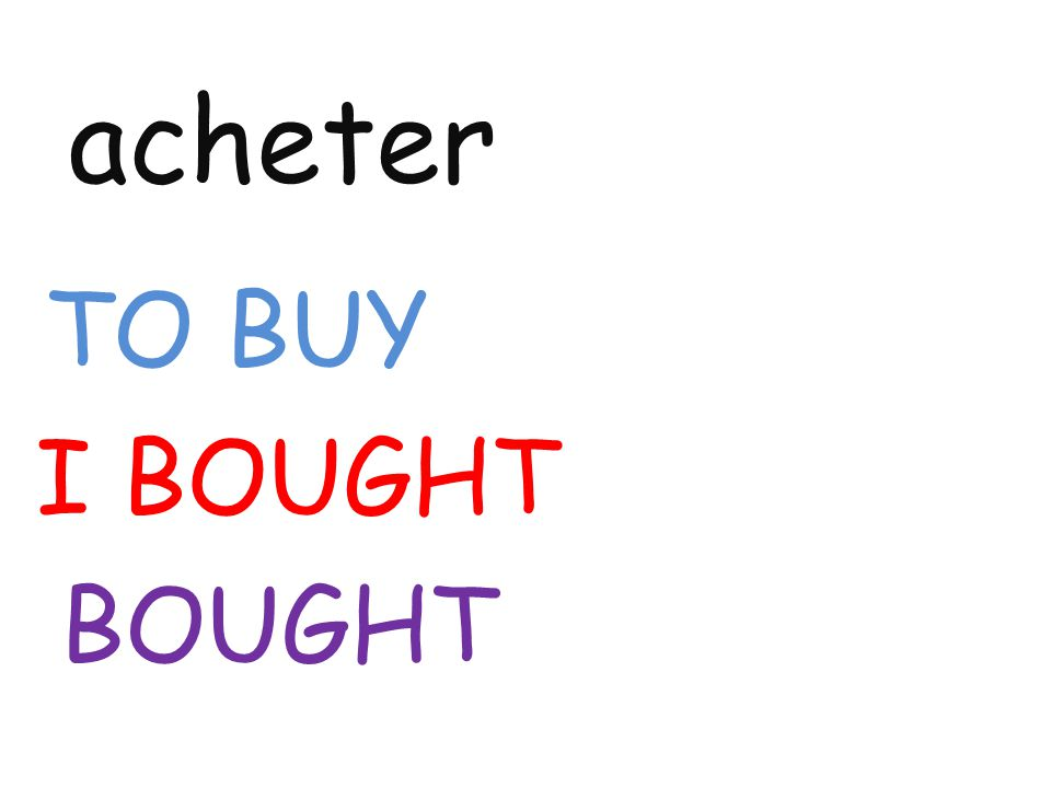 acheter TO BUY I BOUGHT BOUGHT