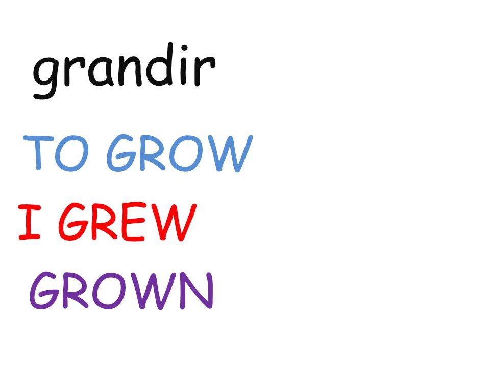 grandir TO GROW I GREW GROWN