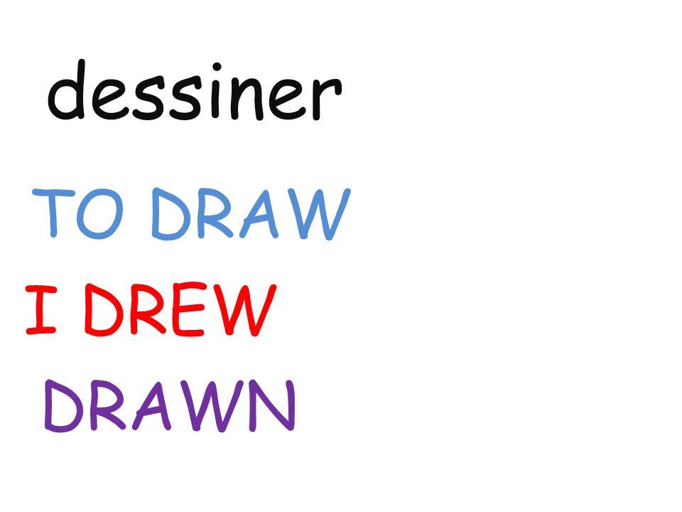 dessiner TO DRAW I DREW DRAWN