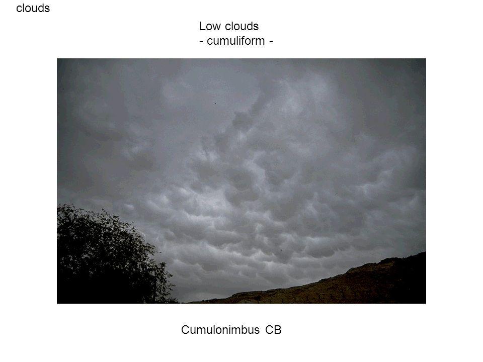 clouds Cumulonimbus CB Low clouds - cumuliform -