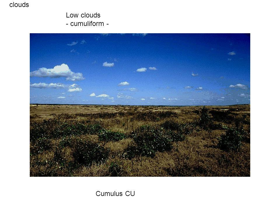 clouds Cumulus CU Low clouds - cumuliform -
