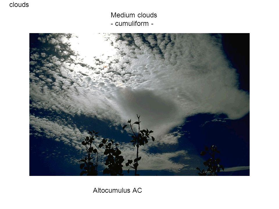 clouds Altocumulus AC Medium clouds - cumuliform -