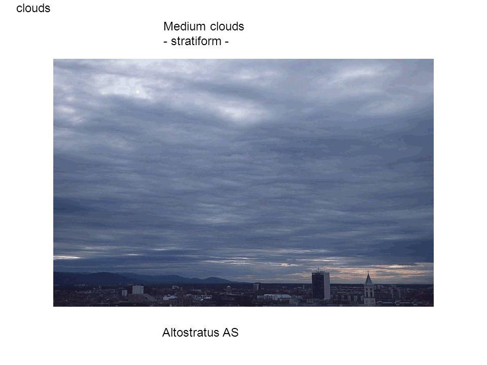 clouds Altostratus AS Medium clouds - stratiform -