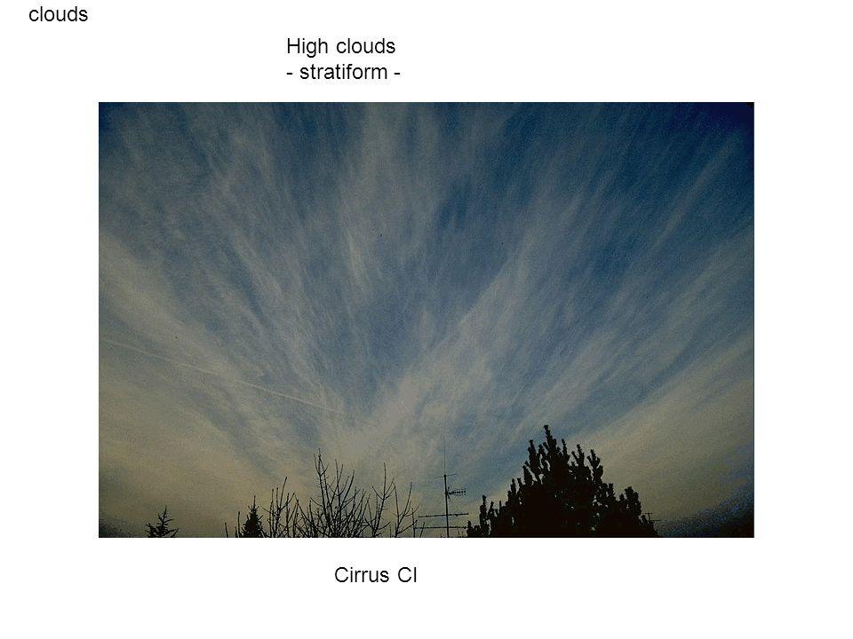 clouds Cirrus CI High clouds - stratiform -