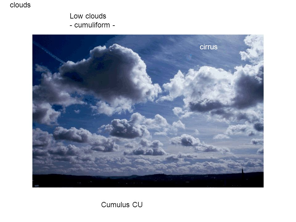 clouds Cumulus CU Low clouds - cumuliform - cirrus