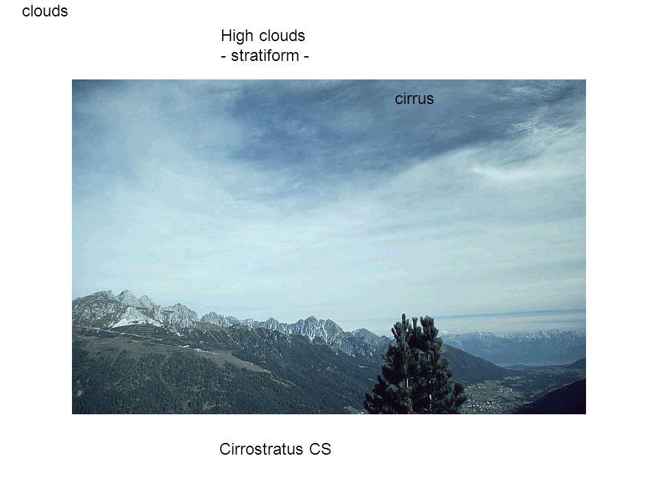 clouds Cirrostratus CS High clouds - stratiform - cirrus