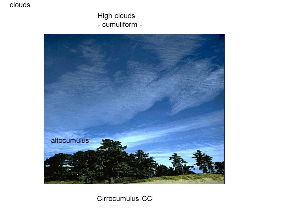 clouds Cirrocumulus CC High clouds - cumuliform - altocumulus
