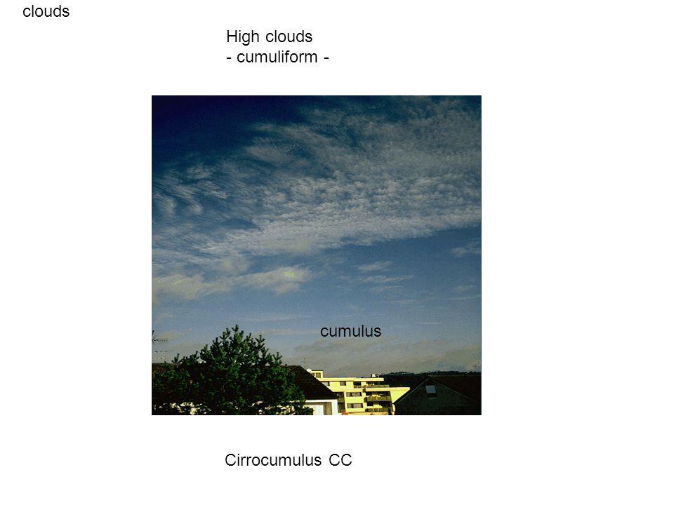 clouds Cirrocumulus CC High clouds - cumuliform - cumulus