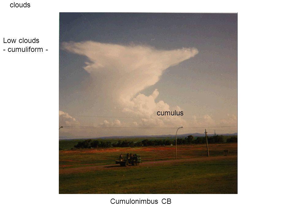 clouds Cumulonimbus CB Low clouds - cumuliform - cumulus