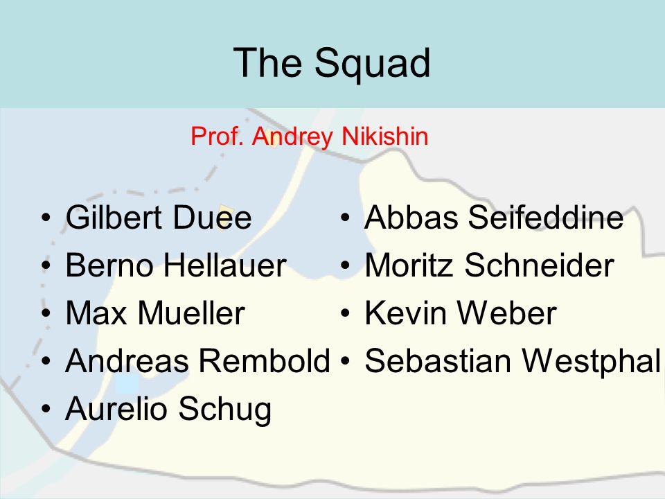 The Squad Prof. Andrey Nikishin Gilbert Duee Berno Hellauer Max Mueller Andreas Rembold Aurelio Schug Abbas Seifeddine Moritz Schneider Kevin Weber Se